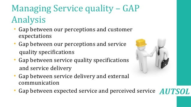 AUTSOL Managing Service quality – GAP Analysis • Gap between our perceptions and customer expectations • Gap between our p...