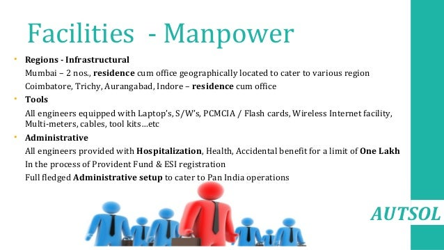 AUTSOL Facilities - Manpower • Regions - Infrastructural • Mumbai – 2 nos., residence cum office geographically located to...