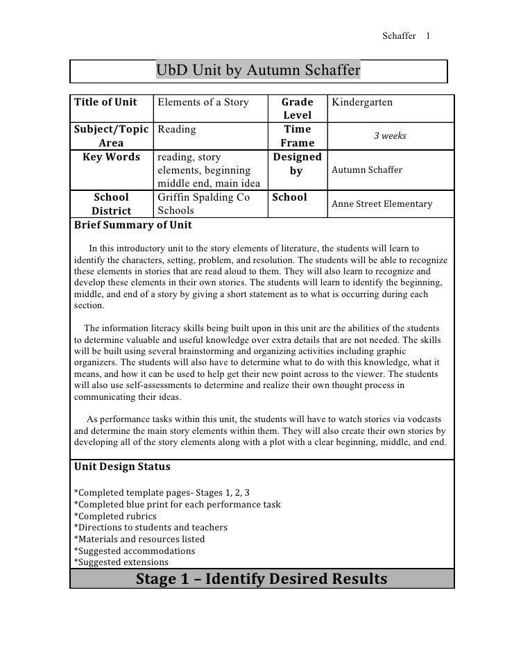 Schaffer   1                     UbD Unit by Autumn SchafferTitle of Unit         Elements of a Story             Grade   ...