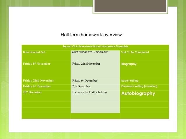 Half term homework overview Record Of Achievement Based Homework Timetable Date Handed Out  Date Handed In/Carried out  Ta...
