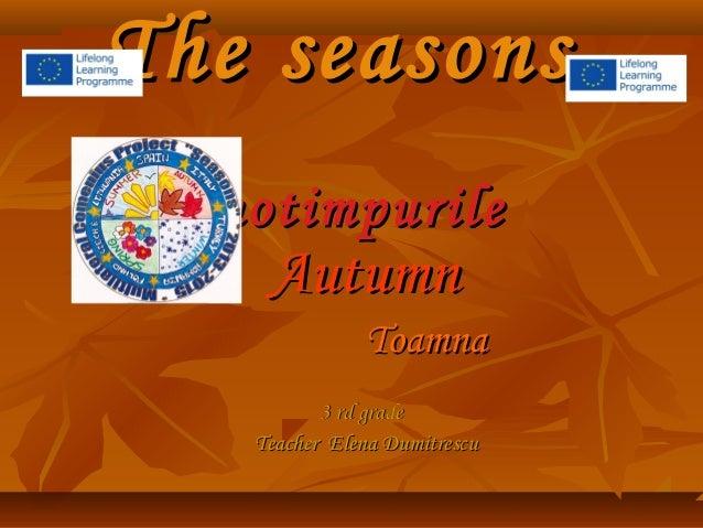The seasons Anotimpurile  Autumn  Toamna 3 rd grade Teacher Elena Dumitrescu