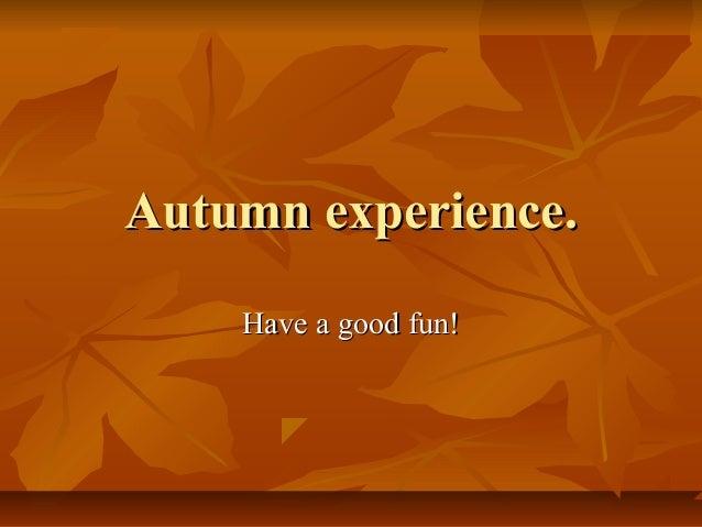 Autumn experience. Have a good fun!