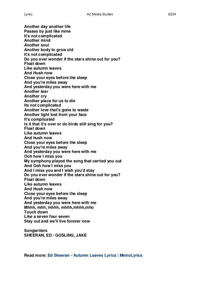 Hawksley Workman - Autumn's Here Lyrics | MetroLyrics