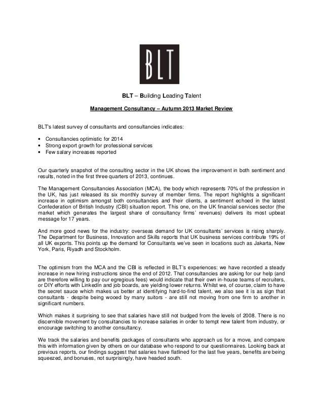 BLT U2013 Building Leading Talent Management Consultancy U2013 Autumn 2013 Market  Review BLTu0027s Latest Survey Of ...
