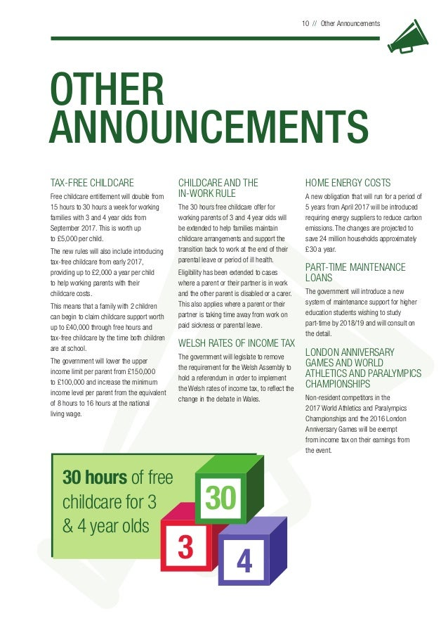 OTHER ANNOUNCEMENTS 10 // Other Announcements TAX-FREE CHILDCARE Free childcare entitlement will double from 15 hours to 3...