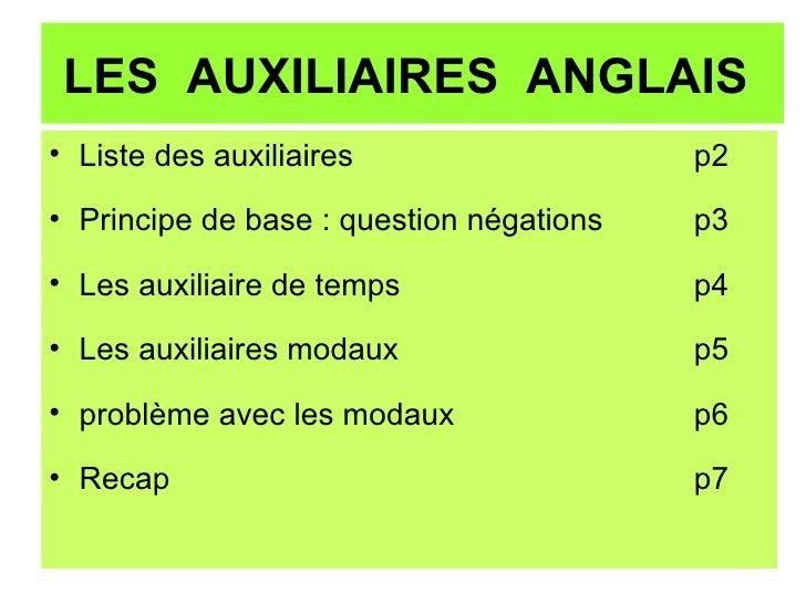 LES  AUXILIAIRES  ANGLAIS  <ul><li>Liste des auxiliaires p2 </li></ul><ul><li>Principe de base : question négations p3 </l...