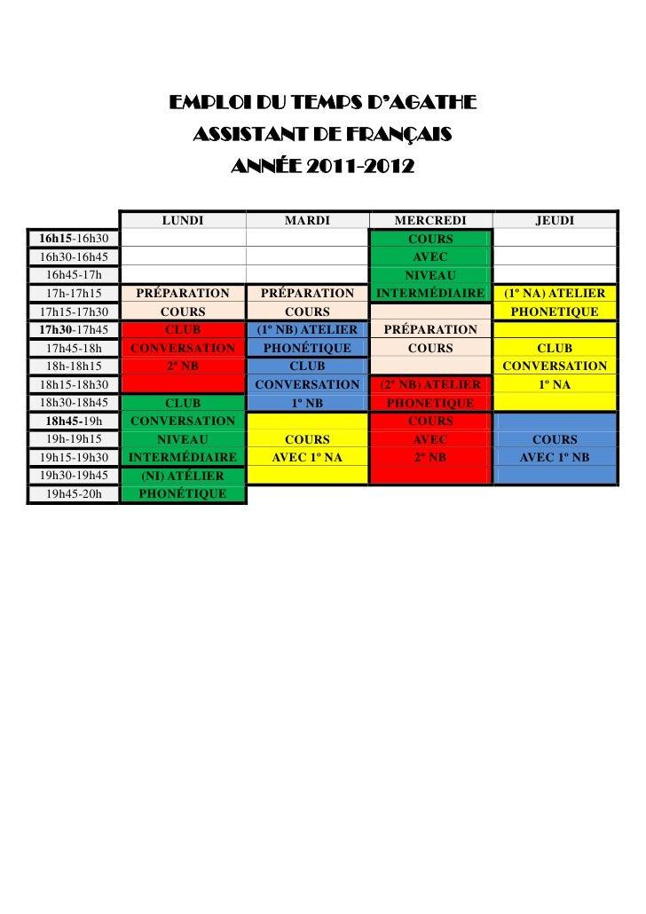 Horario auxiliares de conversación curso 2011-2012 Slide 2