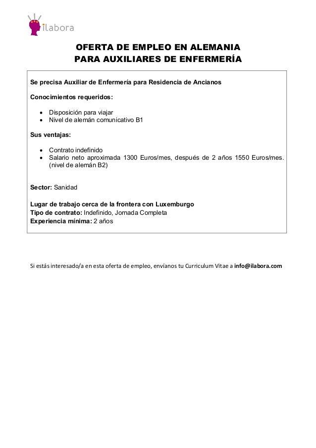 OFERTA DE EMPLEO EN ALEMANIA PARA AUXILIARES DE ENFERMERÍA Se precisa Auxiliar de Enfermería para Residencia de Ancianos C...