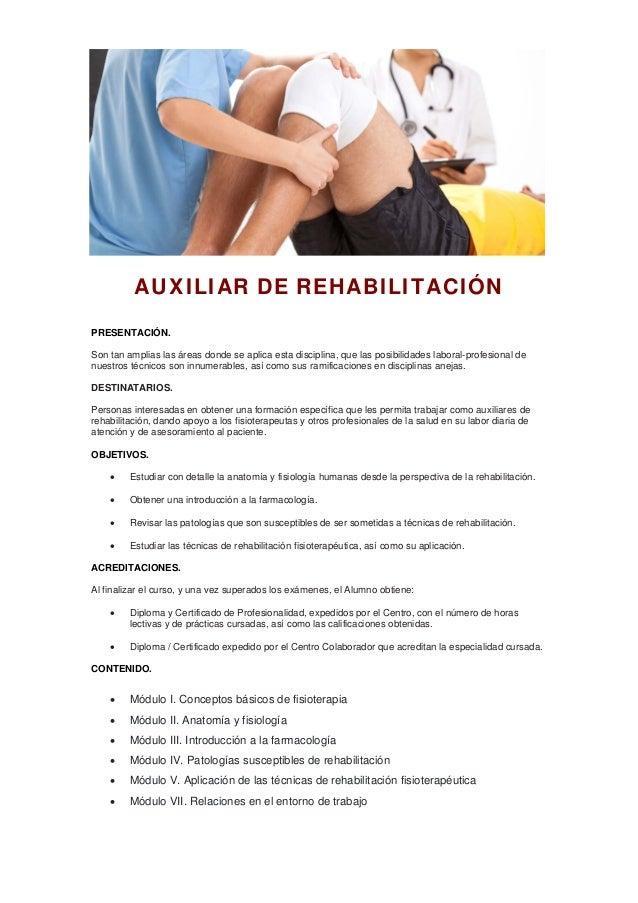 Auxiliar de rehabilitación