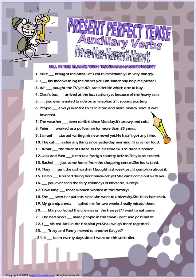 Auxiliary Verbs Present Perfect Tense Have Has Worksheet