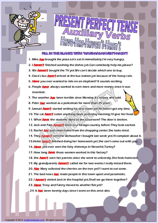 Auxiliary verbs present perfect tense have has worksheet – Perfect Tense Worksheet