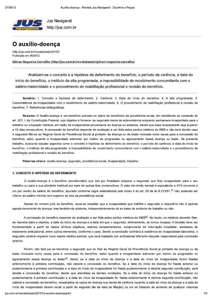 Auxílio doença - revista jus navigandi - brasilia advogados