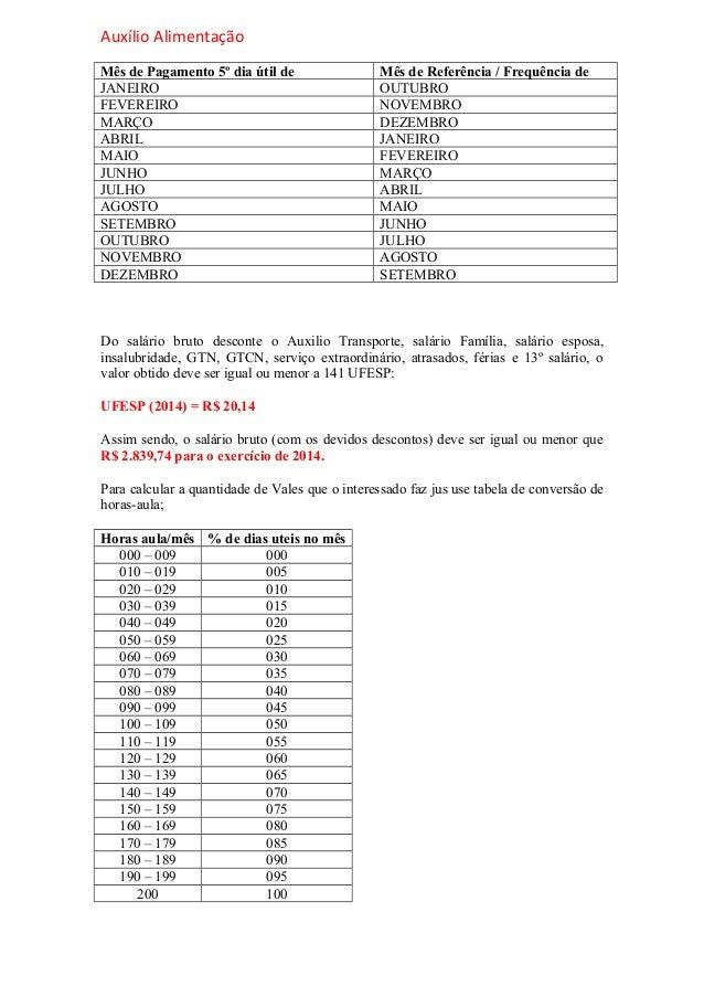 Auxílio Alimentação Mês de Pagamento 5º dia útil de Mês de Referência / Frequência de JANEIRO OUTUBRO FEVEREIRO NOVEMBRO M...