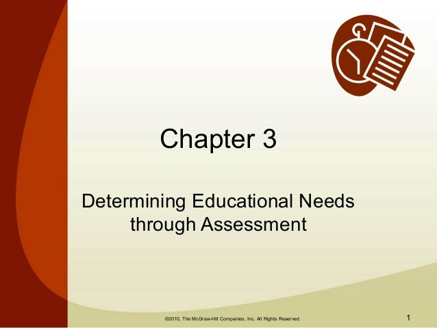 Chapter 3Determining Educational Needs     through Assessment        ©2010, The McGraw-Hill Companies, Inc. All Rights Res...