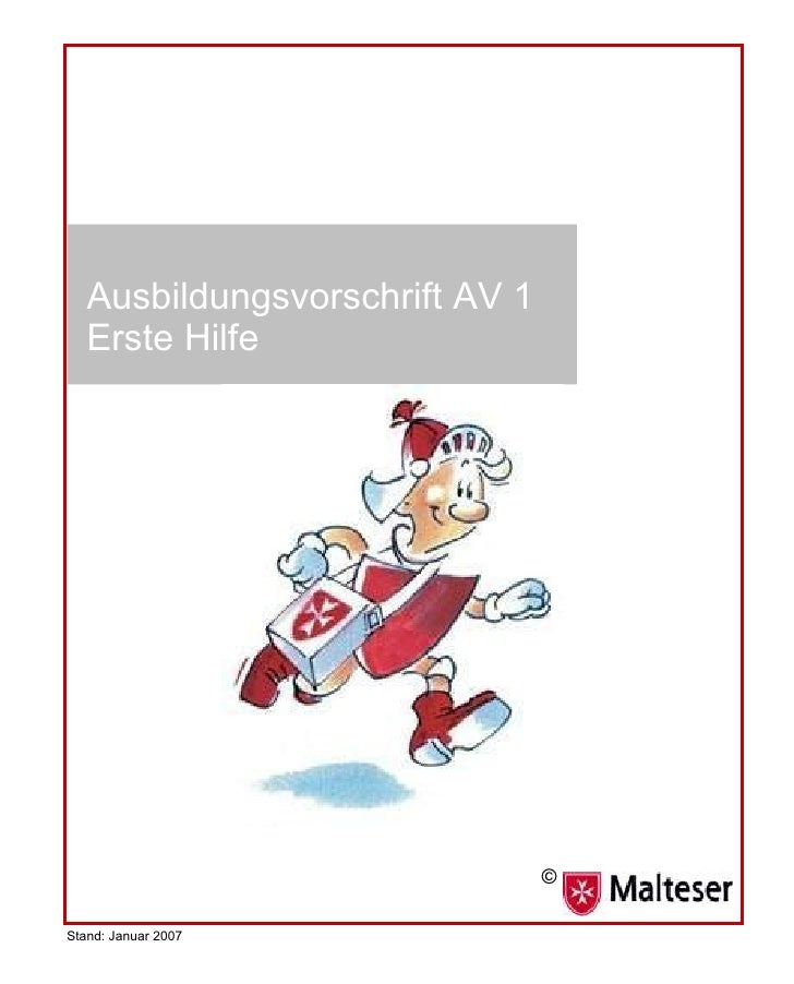 Ausbildungsvorschrift AV 1 Erste Hilfe