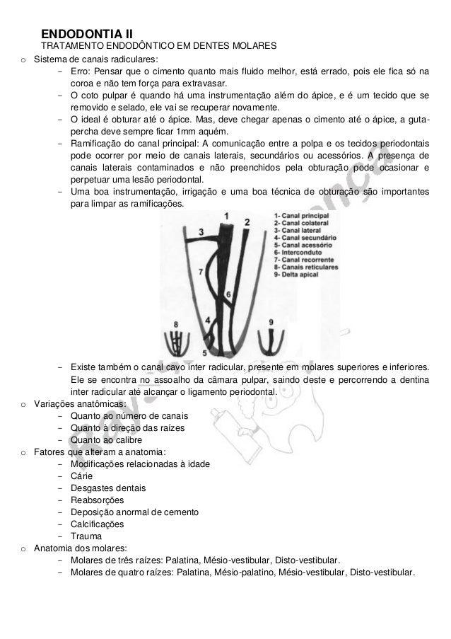 ENDODONTIA II  TRATAMENTO ENDODÔNTICO EM DENTES MOLARES  o Sistema de canais radiculares:  Erro: Pensar que o cimento quan...