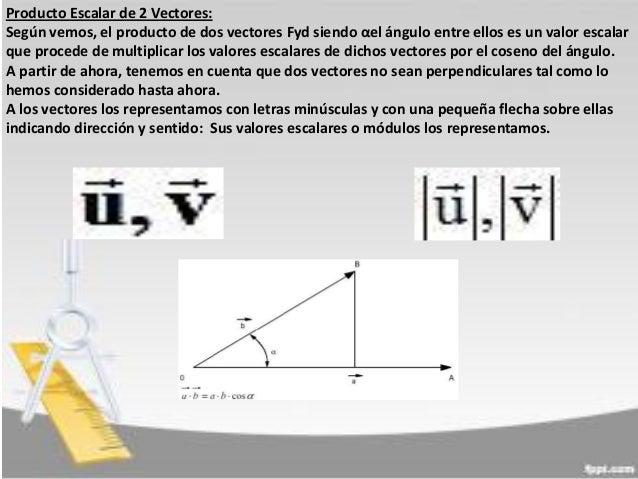 Producto Escalar de 2 Vectores: Según vemos, el producto de dos vectores Fyd siendo αel ángulo entre ellos es un valor esc...