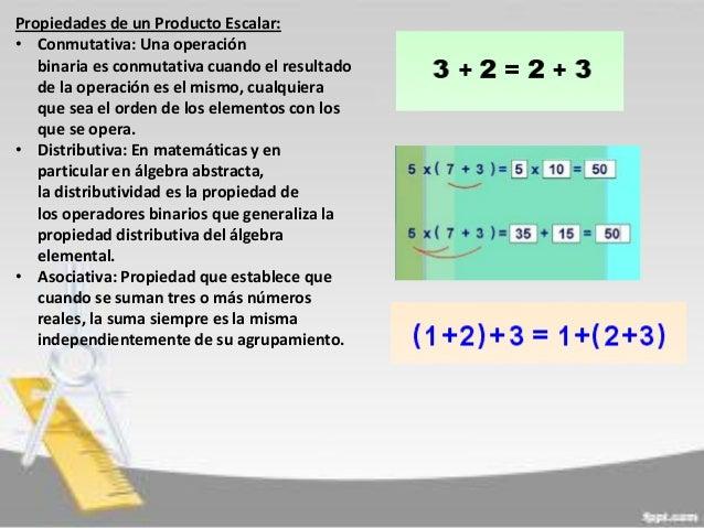 Propiedades de un Producto Escalar: • Conmutativa: Una operación binaria es conmutativa cuando el resultado de la operació...