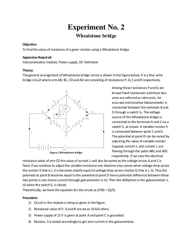Wheatstone bridge lab report