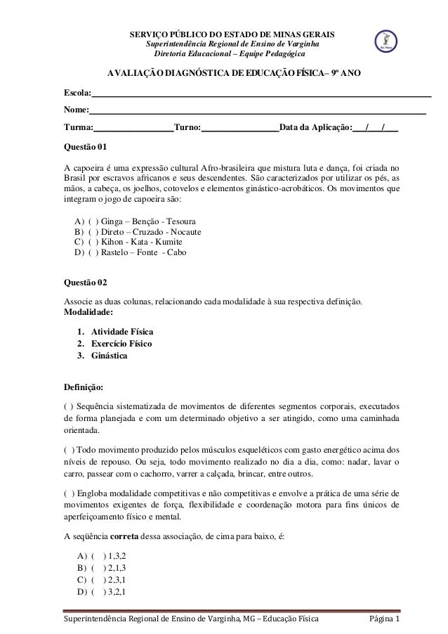 SERVIÇO PÚBLICO DO ESTADO DE MINAS GERAIS Superintendência Regional de Ensino de Varginha Diretoria Educacional – Equipe P...