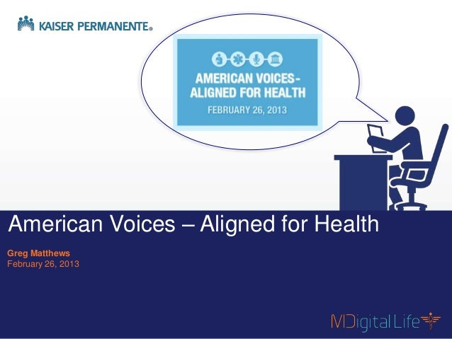 American Voices – Aligned for HealthGreg MatthewsFebruary 26, 2013    Contents are proprietary and confidential.          ...