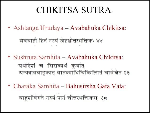 • Ashtanga Hrudaya – Avabahuka Chikitsa: • Sushruta Samhita – Avabahuka Chikitsa: • Charaka Samhita – Bahusirsha Gata Vata...