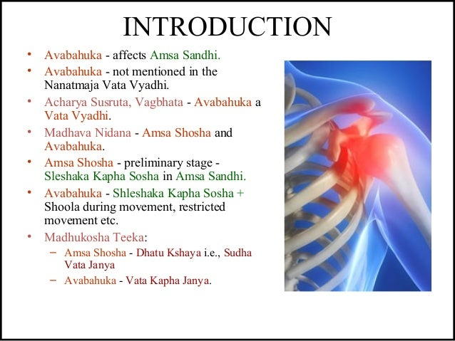 INTRODUCTION • Avabahuka - affects Amsa Sandhi. • Avabahuka - not mentioned in the Nanatmaja Vata Vyadhi. • Acharya Susrut...