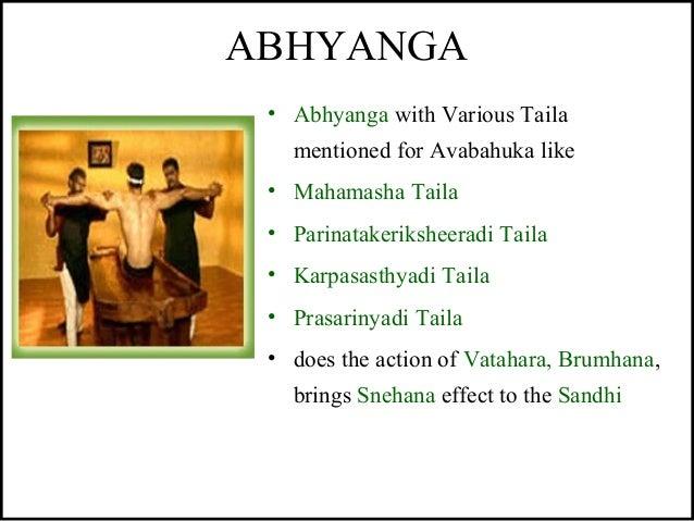 ABHYANGA • Abhyanga with Various Taila mentioned for Avabahuka like • Mahamasha Taila • Parinatakeriksheeradi Taila • Karp...