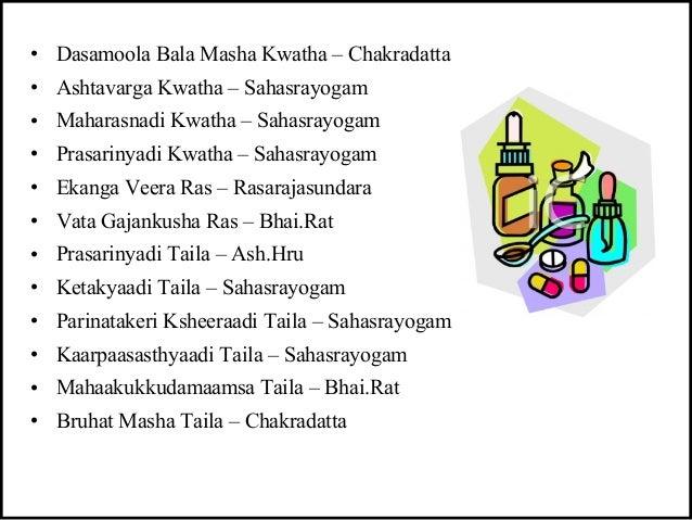 • Dasamoola Bala Masha Kwatha – Chakradatta • Ashtavarga Kwatha – Sahasrayogam • Maharasnadi Kwatha – Sahasrayogam • Prasa...