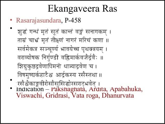 Ekangaveera Ras • Rasarajasundara, P-458 • - • Anupana – Ardraka swarasa • Indication – Pakshaghata, Ardita, Apabahuka, Vi...