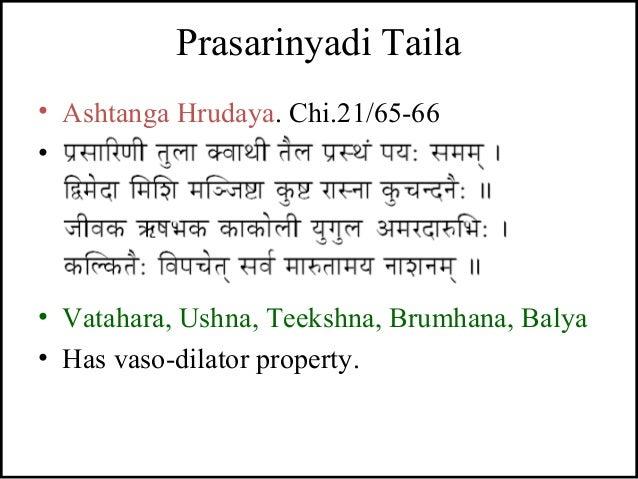 Prasarinyadi Taila • Ashtanga Hrudaya. Chi.21/65-66 • - • Vatahara, Ushna, Teekshna, Brumhana, Balya • Has vaso-dilator pr...