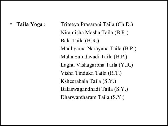 • Taila Yoga : Triteeya Prasarani Taila (Ch.D.) Niramisha Masha Taila (B.R.) Bala Taila (B.R.) Madhyama Narayana Taila (B....