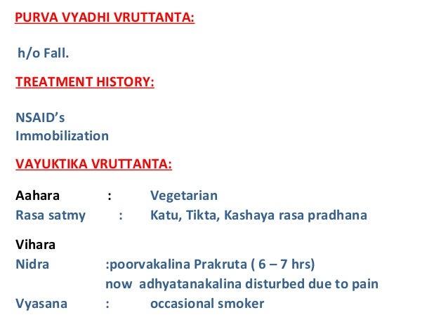 VAYUKTIKA VRUTTANTA: Aahara : Vegetarian Rasa satmy : Katu, Tikta, Kashaya rasa pradhana Vihara Nidra :poorvakalina Prakru...