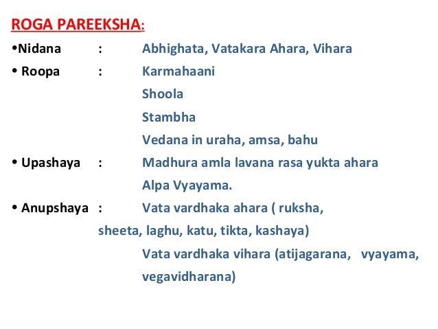 ROGA PAREEKSHA: •Nidana : Abhighata, Vatakara Ahara, Vihara • Roopa : Karmahaani Shoola Stambha Vedana in uraha, amsa, bah...