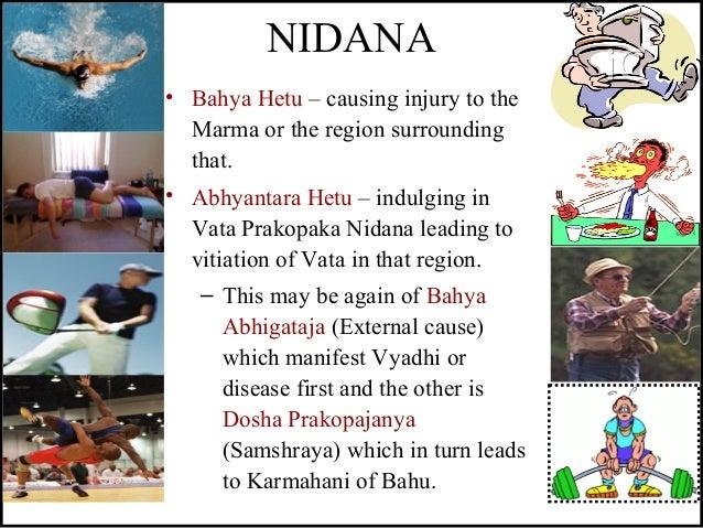 NIDANA • Bahya Hetu – causing injury to the Marma or the region surrounding that. • Abhyantara Hetu – indulging in Vata Pr...