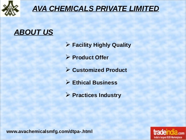 DTPA Acid Exporter, Manufacturer, AVA CHEMICALS PRIVATE LIMITED, Mumbai Slide 2