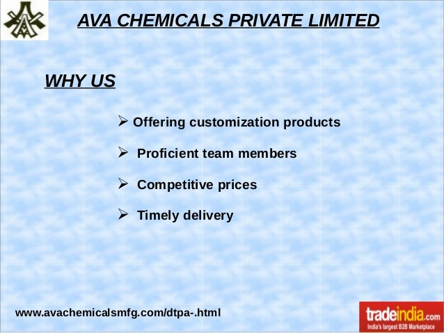 DTPA Acid Exporter, Manufacturer, AVA CHEMICALS PRIVATE LIMITED, Mumbai Slide 3