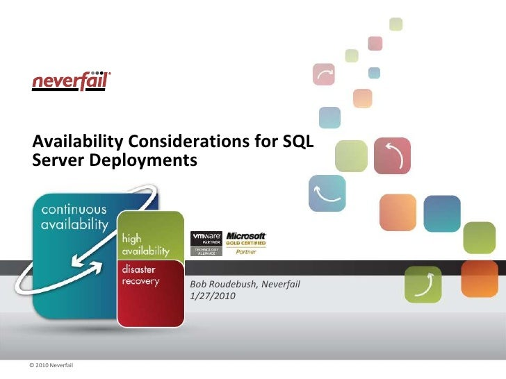 Availability Considerations for SQL Server Deployments<br />Bob Roudebush, Neverfail<br />1/27/2010<br />