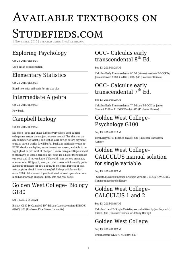 Available textbooks on studefiedscom available textbooks on studefieds1 november 2015 created using fivefilters exploring golden west college fandeluxe Image collections