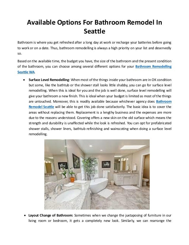Available Options For Bathroom Remodel In Seattle Mesmerizing Bathroom Remodel Seattle