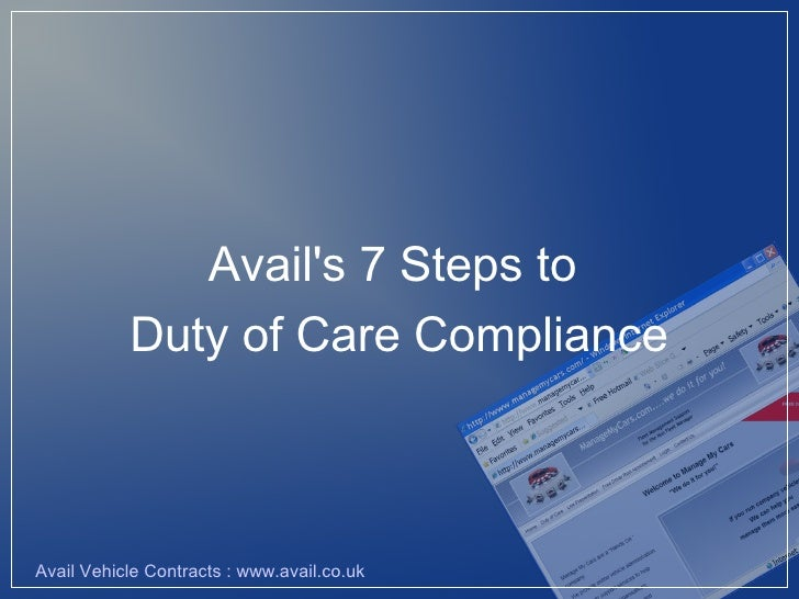Avail's 7 Steps to            Duty of Care Compliance    Avail Vehicle Contracts : www.avail.co.uk