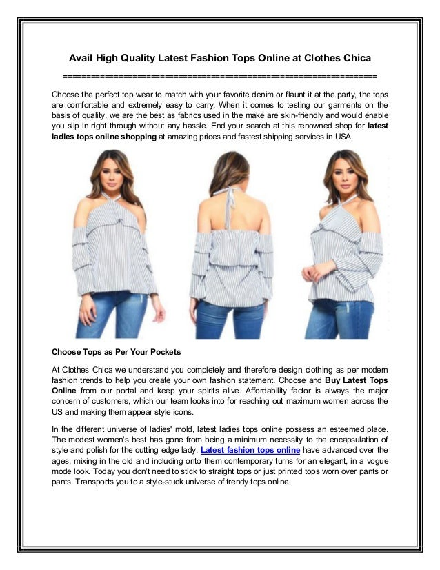 Avail High Quality Latest Fashion Tops Online At Clothes Chica