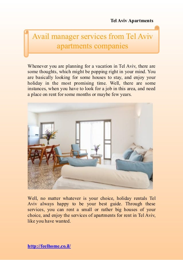 Tel Aviv Apartments http://feelhome.co.il/ Whenever you are planning for a vacation in Tel Aviv, there are some thoughts, ...