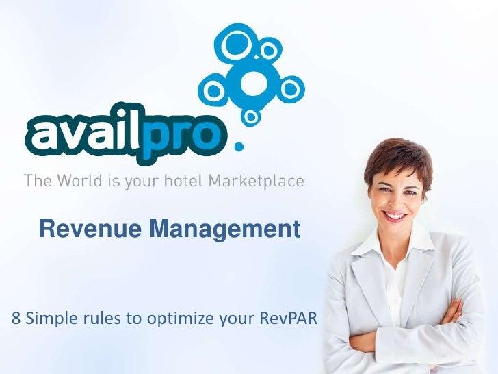 Revenue Management8 Simple rules to optimize your RevPAR