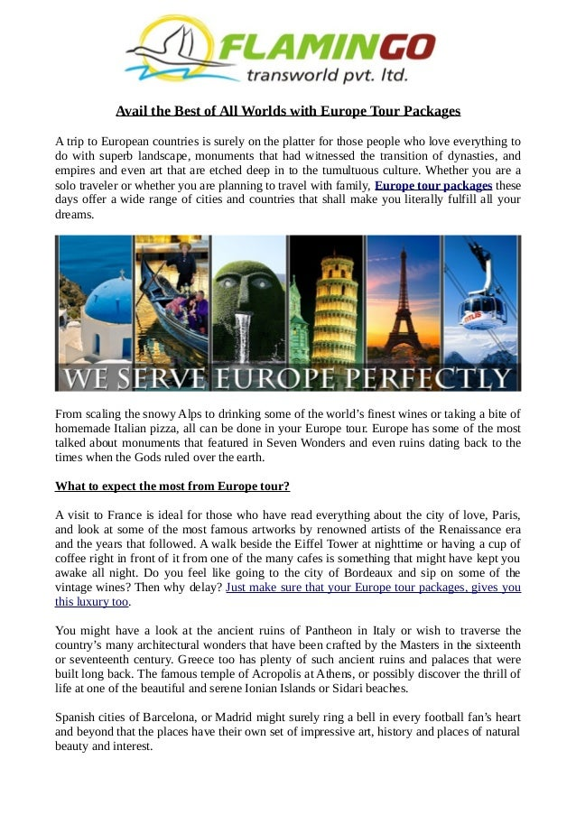 Avail Best Europe Tour Packages At Flamingo Travels - Best europe tours