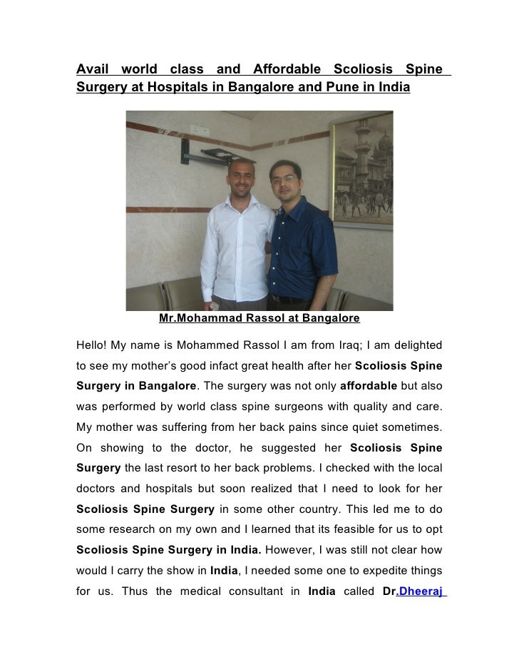 Avail world class and Affordable Scoliosis Spine Surgery at Hospitals in Bangalore and Pune in India                    Mr...