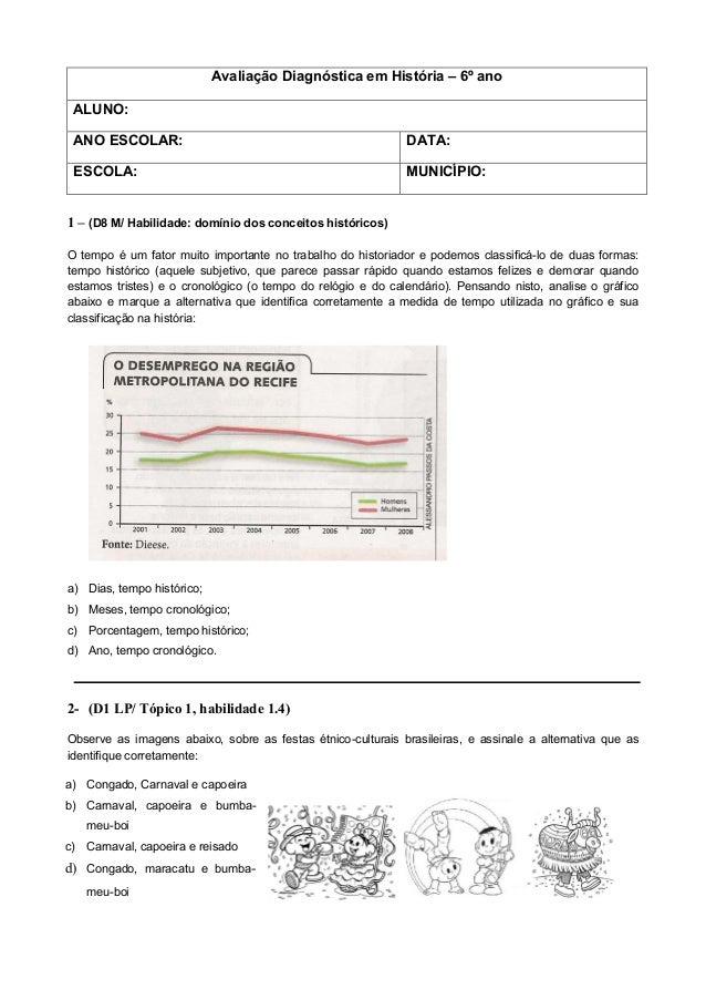 Avaliação Diagnóstica em História – 6º ano ALUNO: ANO ESCOLAR: DATA: ESCOLA: MUNICÍPIO: 1 – (D8 M/ Habilidade: domínio dos...