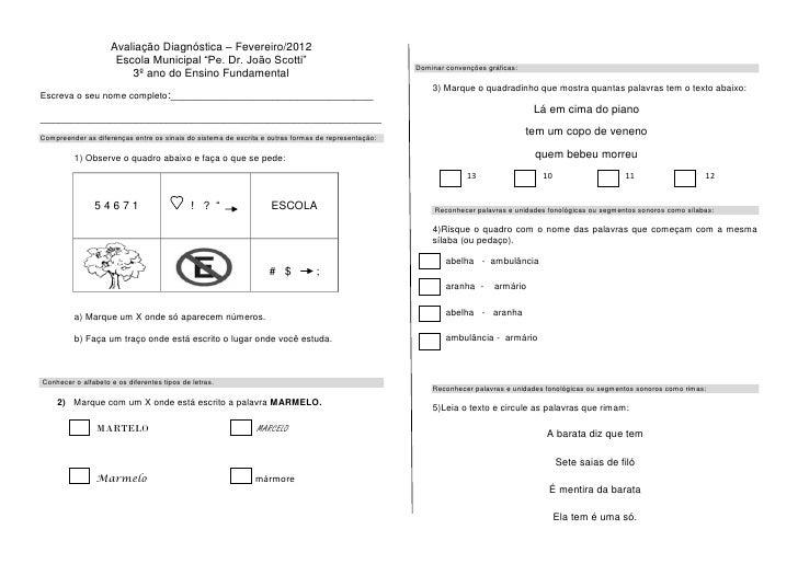 """Avaliação Diagnóstica – Fevereiro/2012                     Escola Municipal """"Pe. Dr. João Scotti""""                         ..."""