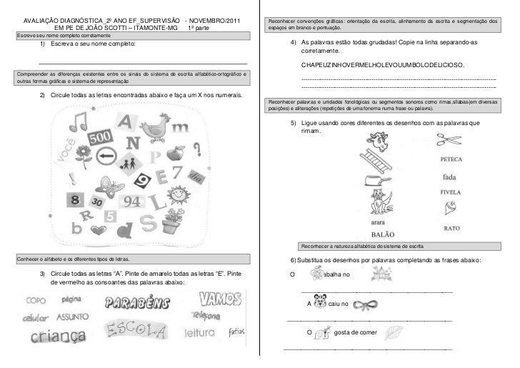 AVALIAÇÃO DIAGNÓSTICA_2º ANO EF_SUPERVISÃO - NOVEMBRO/2011                                          Reconhecer convenções ...