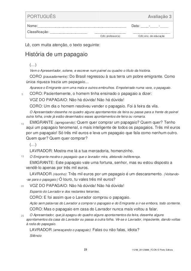 19 11298_20123888_FCON © Porto Editora PORTUGUÊS Avaliação 3 Nome:_____________________________________________ Data: ____...